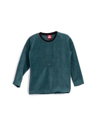 Mickey Mouse Mickey & Minnie Mouse Lisanslı Erkek Çocuk Polar Sweatshirt Bordo Yeşil